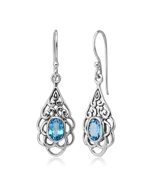 Sterling Filigree Gemstone Teardrop Earrings