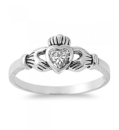 Clear Claddagh Polished Sterling Silver