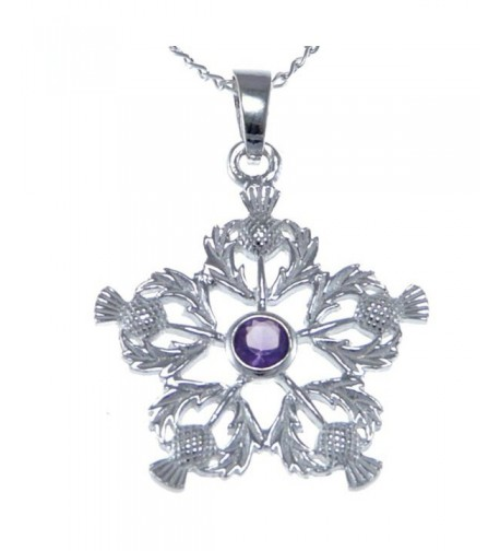 Sterling Silver Amethyst Thistles Pendant