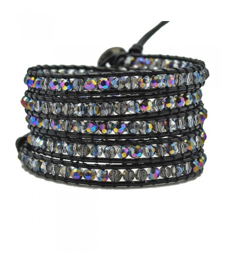 Multi layer Braided Leather Bracelet Multi color