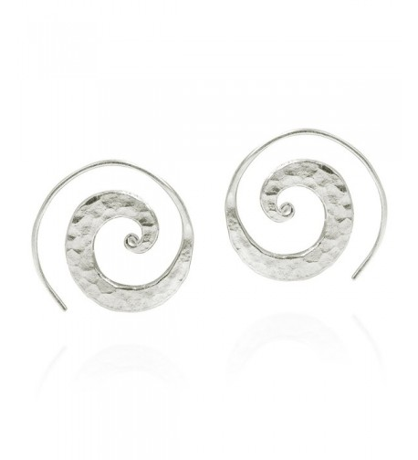 Unique Hammered Spiral Sterling Earrings