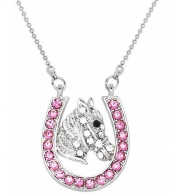 Horseshoes Silver Necklace Multicolor Crystals