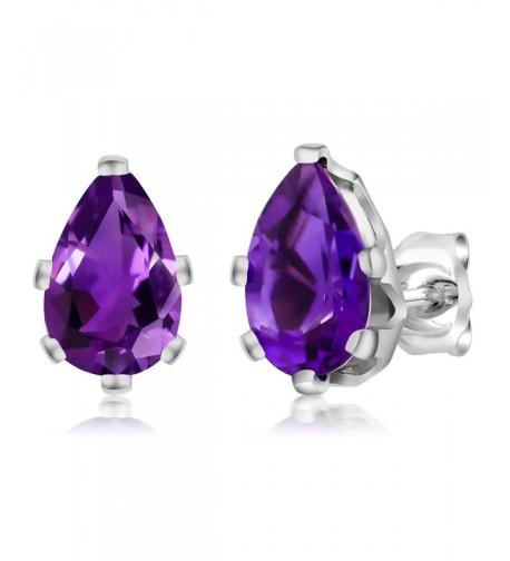 Amethyst Sterling Silver 6 Prong Earrings