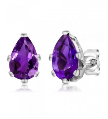 Amethyst Sterling Silver 6 Prong Earrings