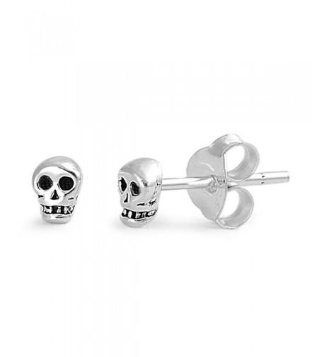 Sterling Silver Tiny Skull Earrings