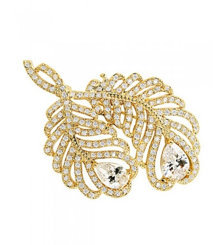 SELOVO Feather Zirconia Brooch Jewelry