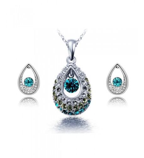 KATGI Austrian Teardrop Necklace Earrings