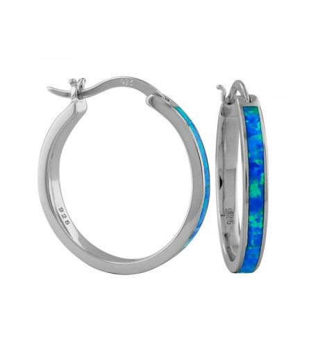 Sterling Silver Synthetic Blue Earrings