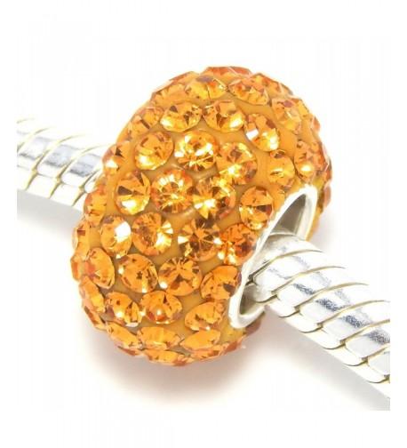 Sterling Silver Orange Crystals Charm