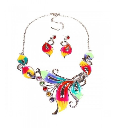 Womens Exotic Multi Colored Necklace Earring