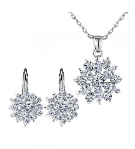 BAMOER Zirconia Snowflake Earrings Necklace