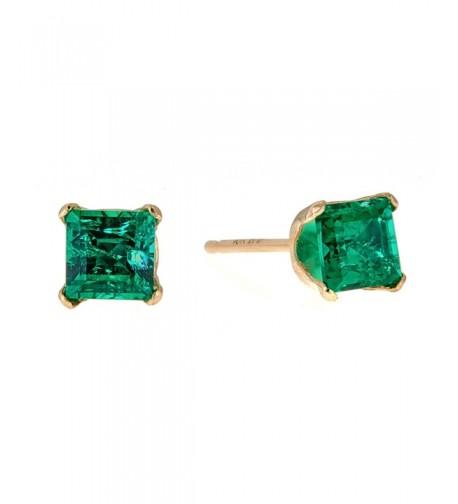 Square Green Emerald Yellow Earrings
