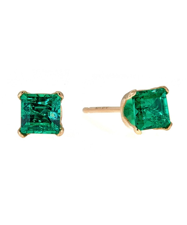 Square Green Emerald Yellow Earrings