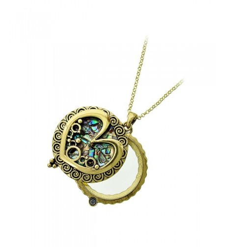 Antiqued Abalone Heart Magnifying Necklace