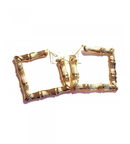 Bamboo Hoop Earrings Gold Square