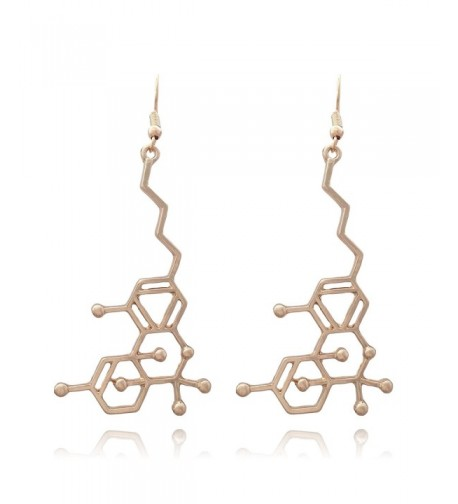 Large Molecule Dangle Earrings Gold