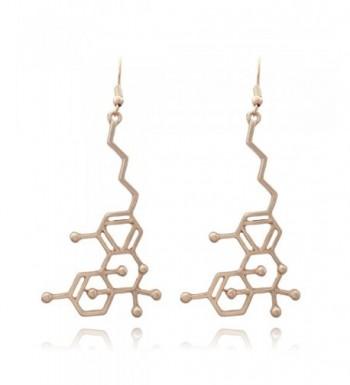 Large Molecule Dangle Earrings Gold