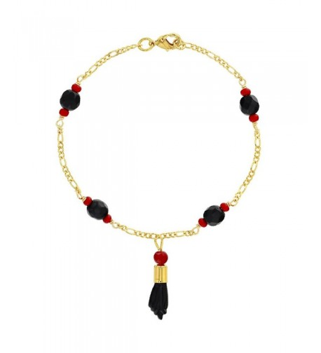 Plated Simulated Azabache Protection Bracelet