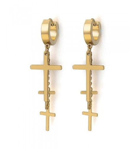 Stainless Huggie Hinged Earrings Crosses
