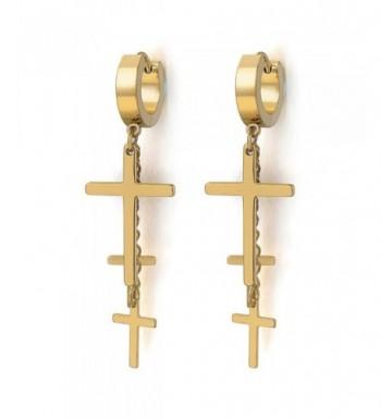 Stainless Huggie Hinged Earrings Crosses