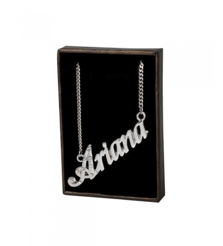 Name Necklace Ariana White Plated