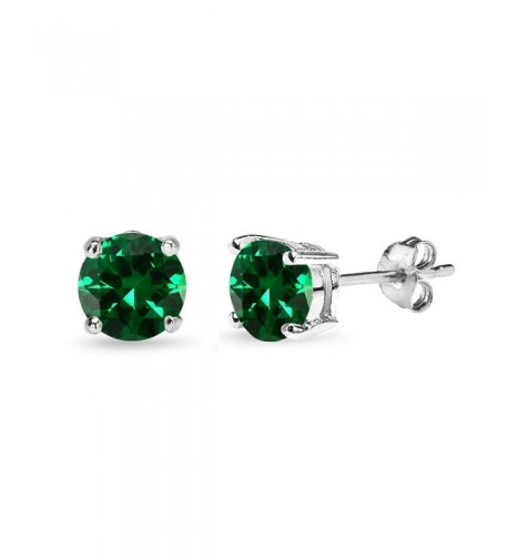 Sterling Simulated Round Cut Solitaire Earrings