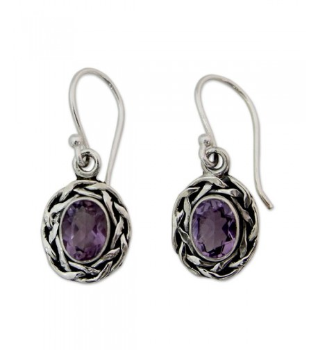 NOVICA Sterling Silver Amethyst Earrings