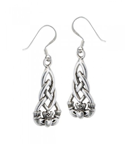 Sterling Silver Heart Claddagh Earrings