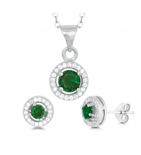 Sterling Lab Created Emerald Earrings Pendant
