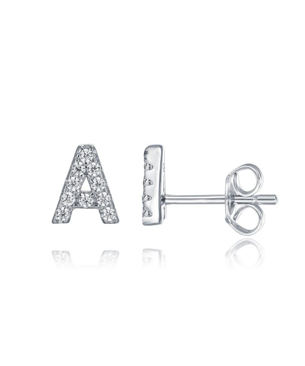 PAVOI Sterling Simulated Earrings Alphabet