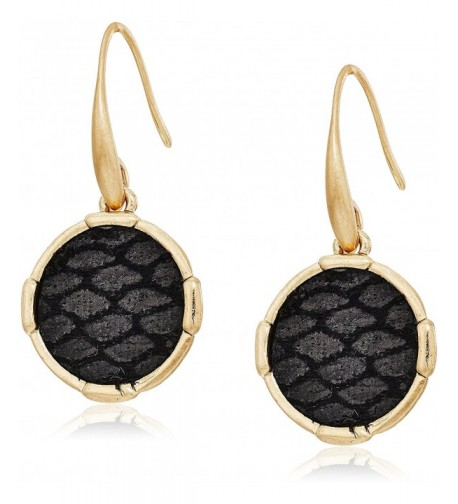 Inlay Circle Black Gold Earrings