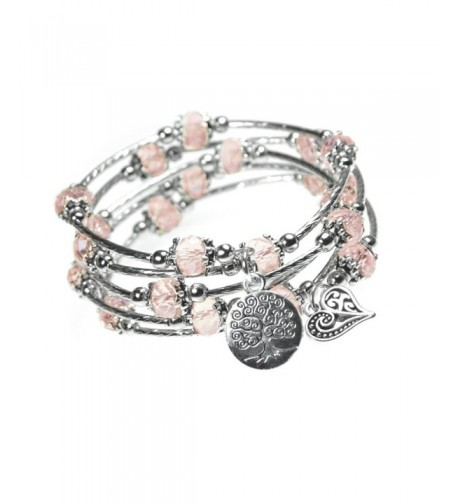 Heart Charm Silver tone Bangle Bracelet