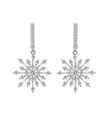 EleQueen Sterling Zirconia Snowflake Earrings