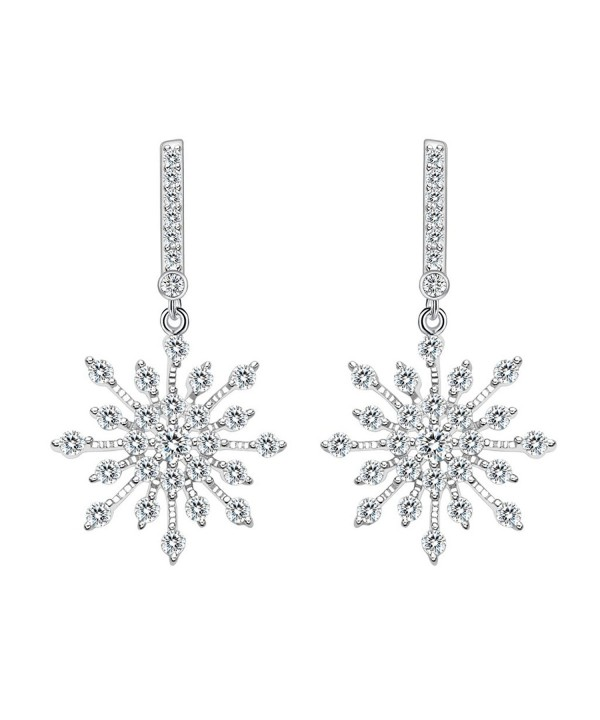 925 Sterling Silver Winter Snowflake Bridal Drop Earrings Cs12n8ym9iz