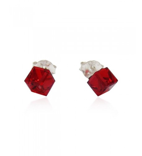 Crystal Cube Sterling Silver Earrings