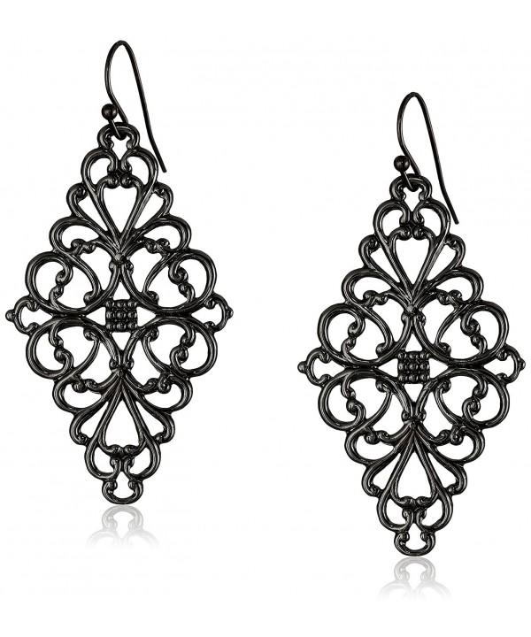 1928 Jewelry Black Tone Filigree Earrings
