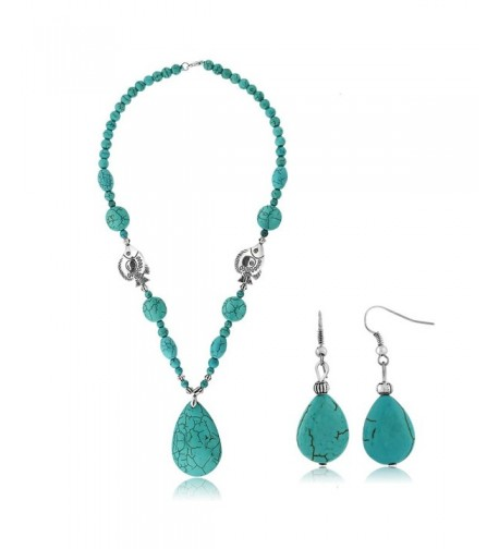 Simulated Turquoise Howlite Necklace Earring