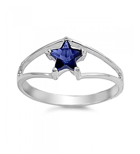 Simulated Sapphire Solitaire Sterling Silver