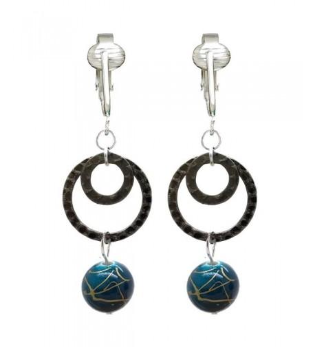 Clip Earrings Briolette Non pierced Turquoise