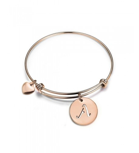 Initial Expandable Bracelet Bangle Heart
