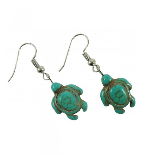 Turquoise Turtle Earrings Hawaiian Dangle