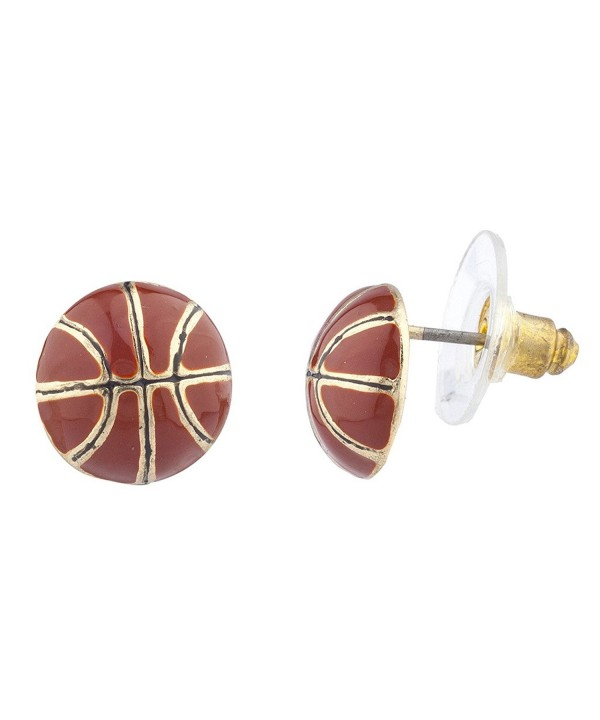 Lux Accessories Goldtone Basketball Earrings