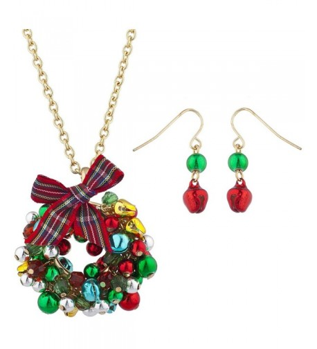 Lux Accessories Christmas Necklace Earring