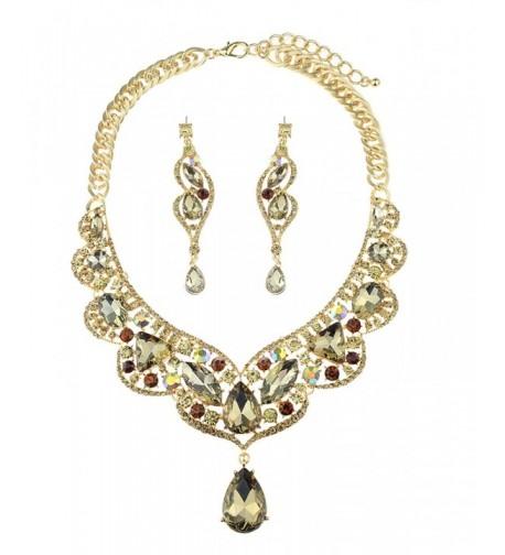 Dangling Teardrop Necklace Earrings Gold Tone
