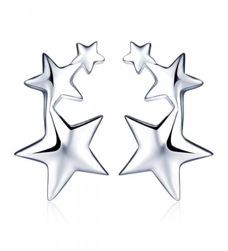 Infinite Womens Sterling Pentagrams Earrings