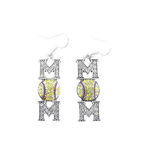 Softball Yellow Crystals Stitching Earrings