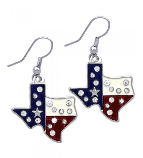 American Patriotic Elephant Earrings Silver tone