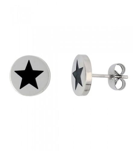 Stainless Steel Earrings Black Enameled