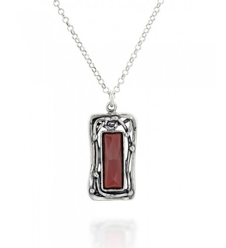 Rectangular Carnelian Gemstone Sterling Necklace