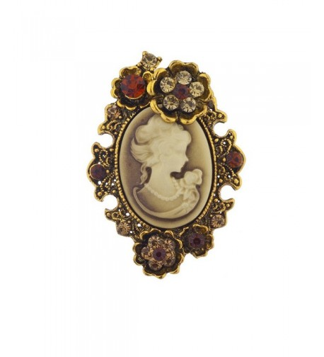 Lux Accessories Antique Brooch Burnished
